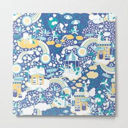 The secret map of Unicorns Village II // indigo blue background Metal Print