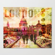 London St. Pauls Cathedral modern illustration typography Canvas Print