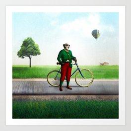 Mr Cyrus D. Chympe on the Cycling Trail Art Print