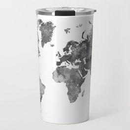 World map in watercolor gray Travel Mug