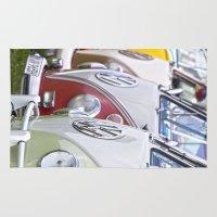 volkswagen Area & Throw Rugs featuring Old Volkswagen Splitty Buses by Premium