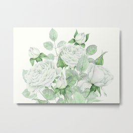 Bouquet Of Pastel Green Roses Metal Print