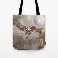 valentina Tote Bags featuring valentina e l'improbabile telescopio by Mesailes by Germana Picchioni