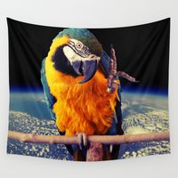 parrot Wall Tapestries featuring Parrot by Cs025