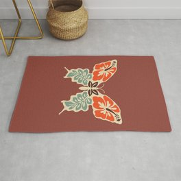 Butterfly 70s Floral Retro Mid Century Modern Rusty Brown Terracotta Boho Old School Rug
