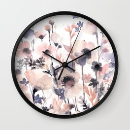 Flowers pink and purple Wall Clock