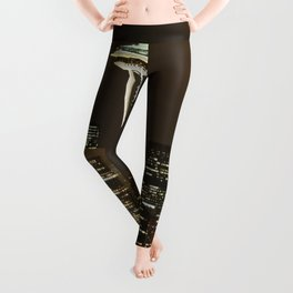 Seattle Space Needle at Night - City Lights Leggings
