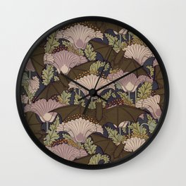 Vintage Art Deco Bat and Flowers Wall Clock