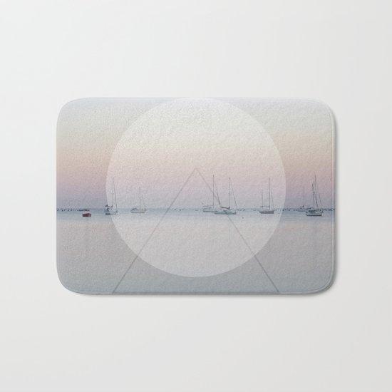 Calm Sea Sail Boats Geometric Nature Art Bath Mat