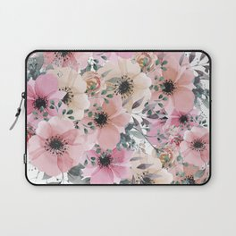Pink and Peach Watercolor Flowers Laptop Sleeve