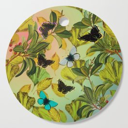 Vintage Ginkgo Leaves and Butterflies Cutting Board
