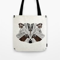 raccoon Tote Bags featuring raccoon! by Manoou