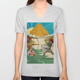 european knight fighting an aztec warrior in the jungle Unisex V-Neck