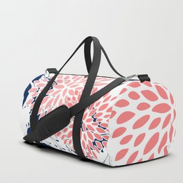 Festive, Floral Prints and Leaves, Navy Blue, Pink and White Duffle Bag