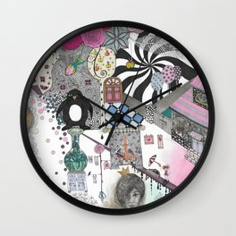"""Flowers""  Illustrated print Wall Clock"