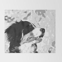 bernese mountain dog vector art black white Throw Blanket