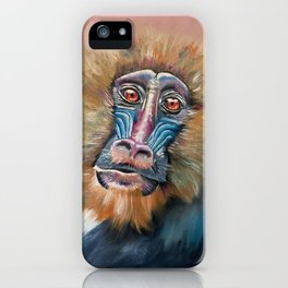 Abstract Mandrill Bamboo iPhone Case