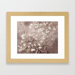 Van Gogh Almond Blossoms Beige Taupe Framed Art Print