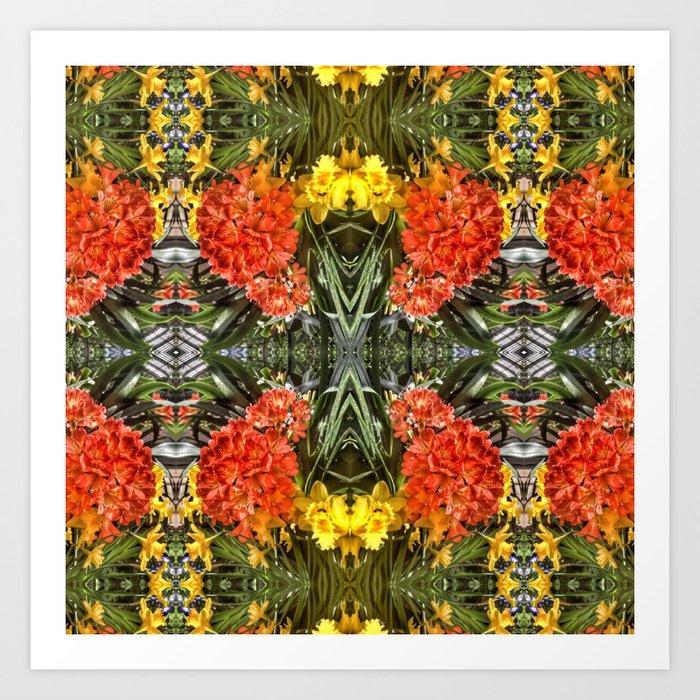 Orange Spring Flowers And Yellow Daffodils Kaleidoscope Art