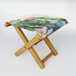 Japanese Water Lilies and Lotus Flowers Folding Stool