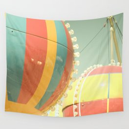 Up Up & Away I Carnival, fair, ride, hot air balloon, whimsical, fun rainbow, adventure, pastel,  Wall Tapestry