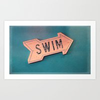 swim Art Prints featuring swim by Sylvia Cook Photography