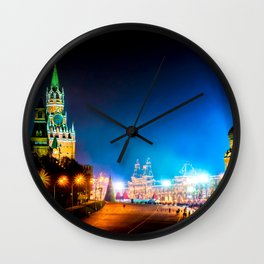 Moscow Kremlin And Red Square At Winter Night Wall Clock