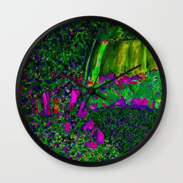 Abstract Wine Glass in Green Wall Clock