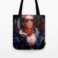 terminator Tote Bags featuring The Terminator by Alice Z.