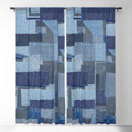 Boroboro Blue Jean Japanese Boro Inspired Patchwork Shibori Blackout Curtain
