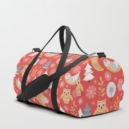 Fairy forest, deer, owls, foxes. Decorative pattern in Scandinavian style on a red background. Folk Duffle Bag