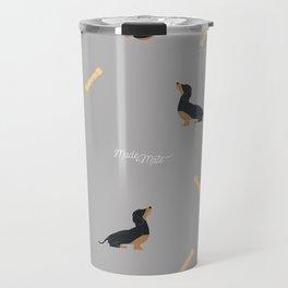 Grey Dachshund Print Travel Mug