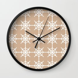Radial Arrows Clover Pattern - White and Hazelnut Wall Clock