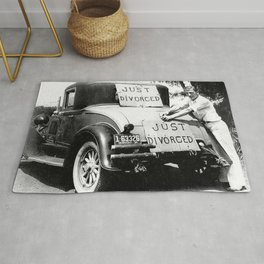 Just Divorced - Just Married Car Box Posters black and white humorous photograph Rug