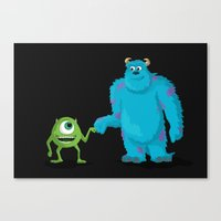 monsters inc Canvas Prints featuring MONSTERS INC by ketizoloto
