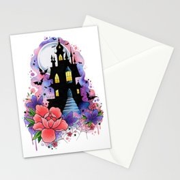 Halloween Spooky Castle Watercolor Design Stationery Cards