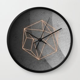 Geometric Solids on Marble Wall Clock