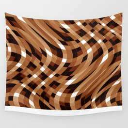 Wavy Lines - Brown and White Plaid Wall Tapestry