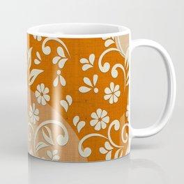"""""""Beige Flowers & Orange Texture"""" Coffee Mug"""