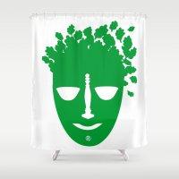 zodiac Shower Curtains featuring Zodiac - Libra by Rebelot