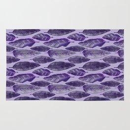 Ultraviolet Glitter Feather Pattern Rug