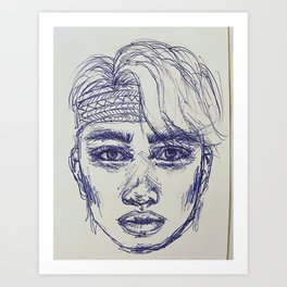 Boy in blue pen Art Print