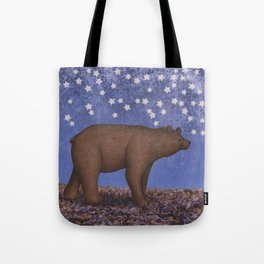 brown bear on a starlit stroll Tote Bag