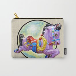 Red Saddle Purple Horse Ride Carry-All Pouch