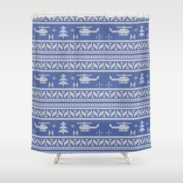 White and Blue Helicopter Aviation Christmas Pattern Shower Curtain