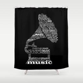 Invert typographic gramophone Shower Curtain