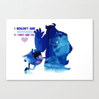monsters inc Canvas Prints featuring Monsters Inc by Keri Lynne