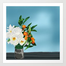 White Roses & Tangerines Art Print