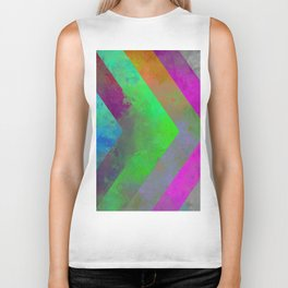 Textured Direction - Abstract, multi coloured, geometric painting Biker Tank