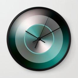 Serene Simple Hub Cap in Aqua Wall Clock